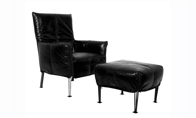 hugo steel in leather evan john philp furniture for sale